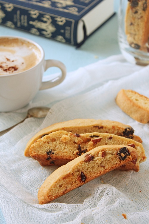 Biscotti with almonds and dried sour cherries