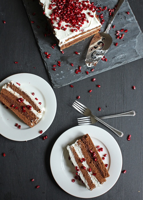 chocolate mousse cake with pomegranate overhead